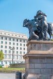 Rzeźba na kwadracie Catalonia obraz royalty free