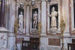 Rze?ba nagi Adam w katedrze w genui W?ochy obrazy royalty free