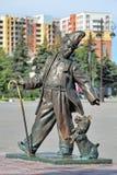 Rzeźba sławny Radziecki błazen Mikhail Rumyantsev w Tyumen (Karandash) Fotografia Stock