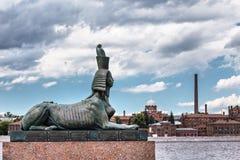 Rzeźba sfinks który jest częścią zabytek ofiary polityczna represja Petersburg Zdjęcia Stock