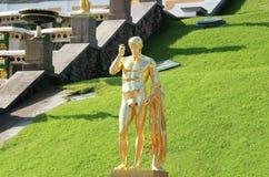Rzeźba Uroczysta kaskada Petergof, święty Petersburg, Rosja Obrazy Royalty Free