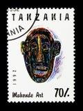 Rzeźbiąca twarz, Makonde sztuki seria około 1992, Zdjęcie Stock