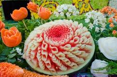 rzeźbiący chiangmai owoc tajlandzki arbuz Obrazy Royalty Free