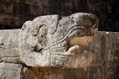 rzeźbiący chichen kierowniczego itza majskiego węża zdjęcie stock