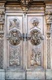 Rzeźbiący drewniany portal Zdjęcia Royalty Free