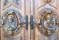 Rzeźbiący drewniany portal Zdjęcie Royalty Free