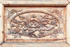 rzeźbiący kwiatu wzoru drewno Zdjęcia Stock