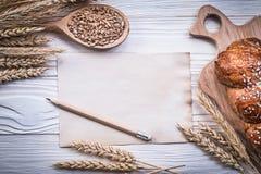 Rzeźbić deskowego pszenicznego żyto ucho chlebowego kija drewnianego łyżkowego kukurydzanego vinta Obrazy Stock