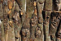Rzeźbić twarze w drewnie obrazy stock