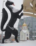 Rzeźbi sobólu i kaplicy St Nicholas w Novosibirsk obraz royalty free
