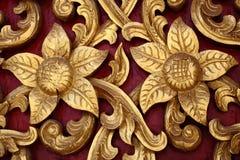 Rzeźbiony drewniany kanok wzór piękny Obrazy Royalty Free