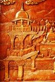Rzeźbiony drewniany kanok wzór piękny Zdjęcia Stock