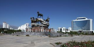 Rzeźbiony skład pościć konie w parku. Ashkhabad. Tu Obrazy Stock