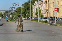 Rzeźby dama z psem w Karakułowym Zdjęcie Royalty Free