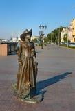 Rzeźby dama z psem w Karakułowym Obraz Royalty Free