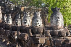 Rzeźby demony przy południe bramą Angkor Thom, Kambodża Obraz Stock