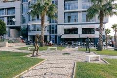 Rzeźby gwiazdy rocka na małej alei w mieście Durres A Zdjęcie Royalty Free