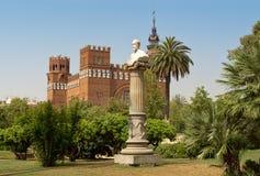 Rzeźby i Castel dels Tres smoki barcelona Catalonia Spain zdjęcia royalty free