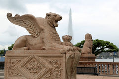 Rzeźba oskrzydlony lew Fotografia Royalty Free