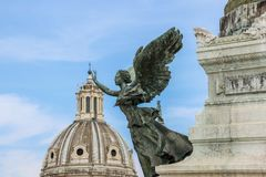 Rzeźba przy piazza Venezia w Rome Zdjęcie Royalty Free