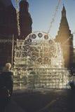 Rzeźba w postaci zegaru na Manezh kwadracie w Moskwa Zdjęcie Royalty Free