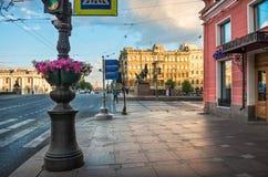 Rzeźby konie na Anichkov moscie Fotografia Royalty Free