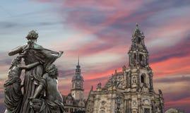 Rzeźba na, katedra Święta trójca lub - Drezdeńska, Sachsen, Niemcy Obrazy Stock