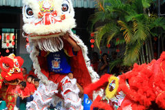 Rzecz lwa taniec Przy Chińskim nowego roku świętowaniem Zdjęcia Royalty Free