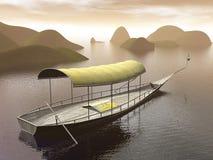 Rzeczna łódź - 3D odpłacają się Fotografia Royalty Free