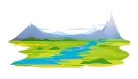Rzeczna dolina w górach Zdjęcia Royalty Free