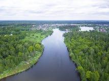 Rzeczna fotografia od truteń anteny krajobrazu Zdjęcie Royalty Free