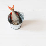 Rzeczna surowa ryba na drewnianym stole obrazy stock