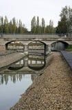 rzeczni bridżowi odbicia Fotografia Royalty Free