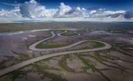 Rzeczni meandery przez pływowych bagna blisko Wyndham w Kimberley Fotografia Stock