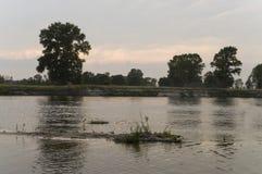 Rzeczny bieg przez z odbiciami w wodzie Wieczór zmierzch z menchiami i fiołkami barwi w niebie sylwetki Zdjęcia Royalty Free