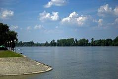 Rzeczny Danube między Chorwacja i Serbia, Vukovar, Chorwacja obrazy stock
