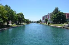 Rzeczny Drim, miasto Struga, Macedonia Obraz Royalty Free