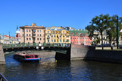 Rzeczny Fontanka bulwar w St Petersburg Fotografia Stock