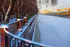 Rzeczny Fontanka w zimie saint petersburg Rosja Zdjęcie Royalty Free