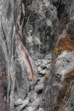 Rzeczny jar ogradzający wietrzeć popielatymi granitowymi falezami obrazy royalty free