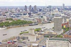 rzeczny London powietrzny widok Thames Zdjęcia Royalty Free