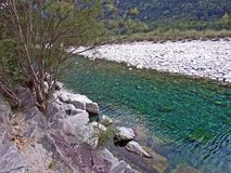 Rzeczny Maggia Maggia Valle Maggia lub Fiume zdjęcia stock