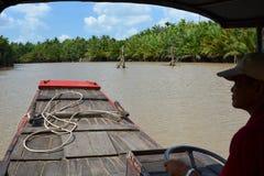 Rzeczny pływać statkiem Ben Tre Mekong delty region Wietnam Zdjęcia Royalty Free