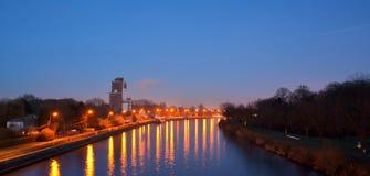 Rzeczny Scheldt przy nocą Zdjęcia Stock