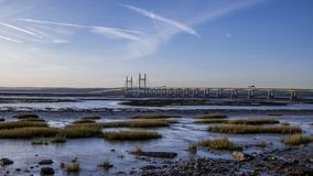 Rzeczny Severn bridżowy złączony Anglia i Walia zbiory