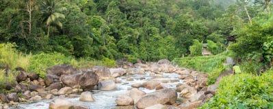 Rzeczny spływanie przez tropikalnego lasu deszczowego w Kiriwong zdjęcie royalty free