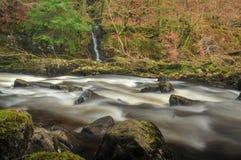 Rzeczny Tay przy eremem, Dunkeld w Szkocja zdjęcie stock