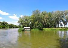 Rzeczny Tisza blisko Tiszafured, Węgry Fotografia Royalty Free