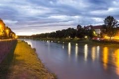 Rzeczny Uzh, Uzhgorod, Ukraina zdjęcie stock