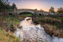 Rzeczny Wansbeck pod Wallington mostem Zdjęcie Royalty Free